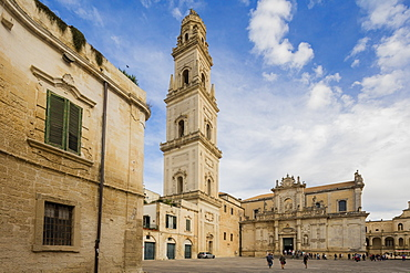 The Baroque style of the ancient Lecce Cathedral in the old town, Lecce, Apulia, Italy, Europe