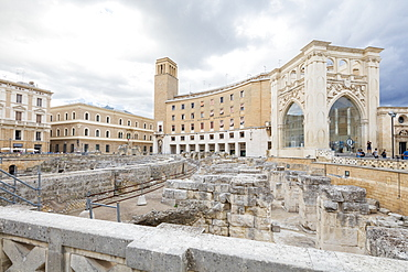 Ancient Roman ruins and historical buildings in the old town, Lecce, Apulia, Italy, Europe