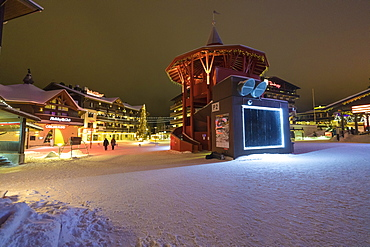 Night view of the alpine village and ski resort covered with snow, Ruka, Kuusamo, Ostrobothnia region, Lapland, Finland, Europe