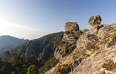 The shaped rocks in the Natural Park of the L'Ospedale massif, Piscia Di Gallo, Zonza, Southern Corsica, France, Europe