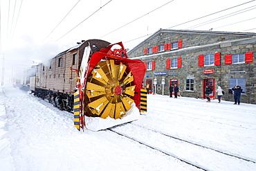 Turbine of snowplow of Bernina Express train, station of Ospizio Bernina, Poschiavo, Engadine, Canton of Graubunden, Switzerland, Europe