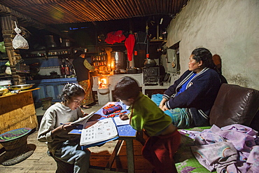 Interior of a Tumling house, where a family of the Gurung ethnicity lives at an altitude of 2900 meters, Ilam District, Nepal, Asia