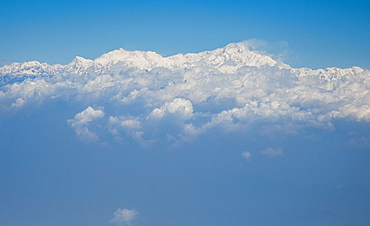 Kangchenjunga, the third highest peak in the world, viewed from a plane, Bandogra to Paro flight, Himalayas, India, Asia