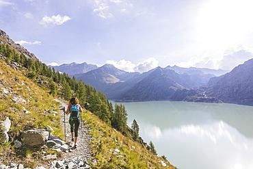Hiker on path towards Rifugio Bignami beside the dam and water basin of Alpe Gera, Malenco Valley, Valtellina, Lombardy, Italy, Europe
