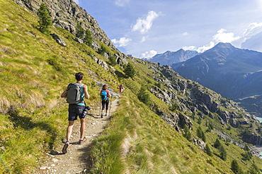 Hikers on path towards Rifugio Bignami, Malenco Valley, Valtellina, Lombardy, Italy, Europe