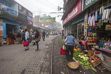 Shops display products arriving thanks to the Indian Railways, Darjeeling, India, Asia