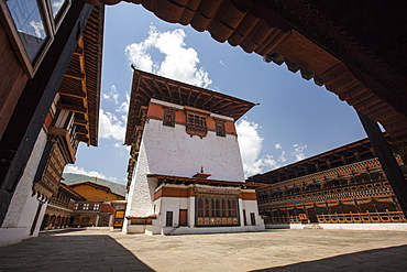 View of the interior courtyard at the Taktsang Monastery, one of the most famous Buddhist temples in Bhutan, Paro, Bhutan, Asia