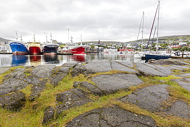 Boats in the harbor of Torshavn, Streymoy Island, Faroe Islands, Denmark, Europe