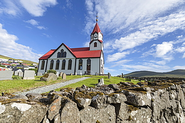 Church and cemetery in Sandavagur, Vagar Island, Faroe Islands, Denmark, Europe