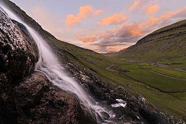 Waterfall at sunset, Saksun, Streymoy Island, Faroe Islands, Denmark, Europe