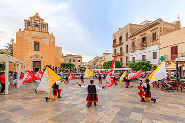 Parade of traditional costumes and flags, Favignana island, Aegadian Islands, province of Trapani, Sicily, Italy