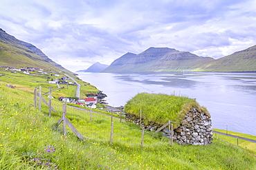 Traditional house with grass roof, Kunoy Island, Nordoyar, Faroe Islands, Denmark, Europe