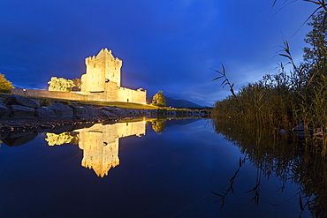 Panoramic of Ross Castle and Lough Leane lake, Killarney National Park, County Kerry, Munster, Republic of Ireland, Europe