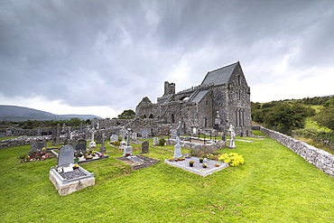 Corcomroe Abbey and cemetery, The Burren, County Clare, Munster, Republic of Ireland, Europe