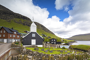Church and graveyard in Bour, Vagar Island, Faroe Islands, Denmark, Europe