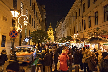 People shopping at Christmas markets, Budapest, Hungary, Europe