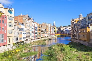 Colorful houses, Girona, Catalonia, Spain, Europe