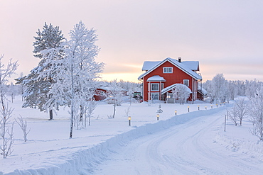 Typical house in the snowy forest, Muonio, Lapland, Finland, Europe