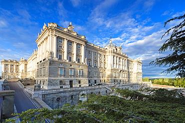 Royal Palace of Madrid (Palacio Real de Madrid) seen from Jardines De Sabatini, Madrid, Spain, Europe