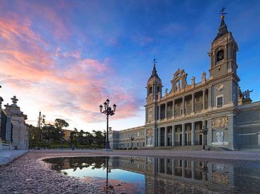 Panoramic of Almudena Cathedral (Catedral de La Almudena), Madrid, Spain, Europe