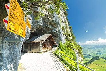Signpost of hiking trails, Wildkirchli, Ebenalp, Appenzell Innerrhoden, Switzerland, Europe