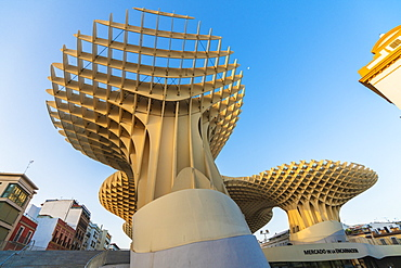 Reticular shapes of giant mushrooms of Metropol Parasol (Setas de Sevilla), Plaza de la Encarnacion, Seville, Andalusia, Spain, Europe