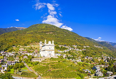 Panoramic of terraced vineyards and sanctuary Santa Casa di Loreto, Tresivio, Sondrio province, Valtellina, Lombardy, Italy, Europe