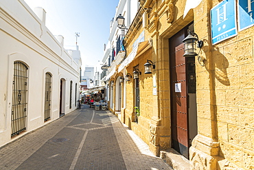 Medieval alley in Conil de la Frontera, Costa de la Luz, Cadiz Province, Andalusia, Spain, Europe
