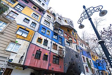 Colorful facade of the iconic Hundertwasser Village, Hundertwasserhaus, Vienna, Austria, Europe