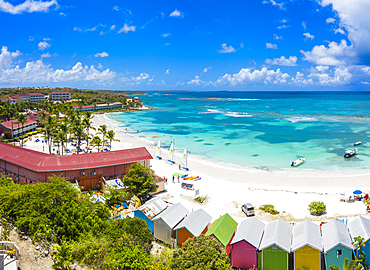Aerial panoramic by drone of Long Bay beach washed by Caribbean Sea, Antigua, Leeward Islands, West Indies, Caribbean, Central America