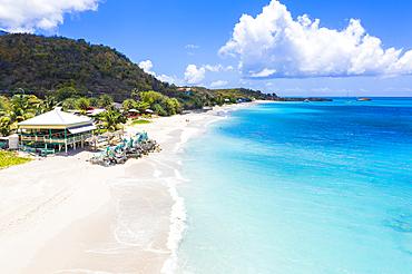 Beach bar on the tropical Turners Beach, Antigua, Antigua and Barbuda, Leeward Islands, West Indies, Caribbean, Central America