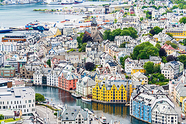 Elevated view of colorful Art Nouveau styled houses along Brosundet canal, Alesund, More og Romsdal county, Norway