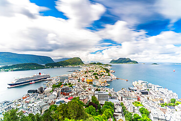 Overview of Alesund and ocean from Byrampen lookout, Aksla, More og Romsdal county, Norway