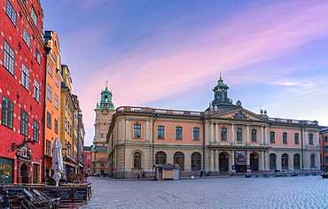 Sunrise over the Stock Exchange Building, today's Nobel Museum, Stortorget Square, Gamla Stan, Stockholm, Sweden, Scandinavia, Europe