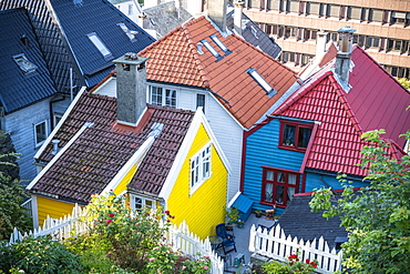 Tiled roof and colorful facades of traditional Norwegian wooden houses, Bergen city centre, Hordaland County, Norway, Scandinavia, Europe