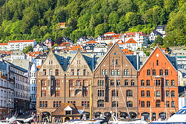 Facades of old Hanseatic buildings in Bryggen, largest commercial port of Northern Europe in the 14th century, UNESCO World Heritage Site, Bergen, Hordaland, Norway, Scandinavia, Europe