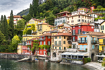 Multicoloured houses in the old town of Varenna, Lake Como, Lombardy, Italian Lakes, Italy, Europe