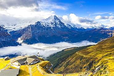 Hikers admiring the autumn landscape from elevated walkway, Cliff Walk by Tissot, First, Grindelwald, Bernese Alps, Canton of Bern, Switzerland, Europe