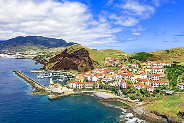 Aerial view of Quinta do Lorde resort hotel and harbor, Canical, Madeira island, Portugal, Atlantic, Europe