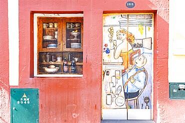 Painted door, Rua de Santa Maria, Funchal, Madeira, Portugal