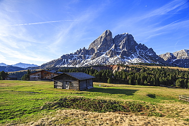 Sass de Putia in background enriched by green meadows, Passo delle Erbe, Puez Odle, South Tyrol, Dolomites, Italy, Europe