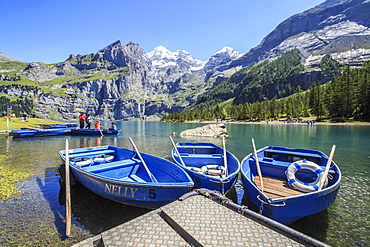Boat trip around Lake Oeschinensee, Bernese Oberland, Kandersteg, Canton of Bern, Switzerland, Europe