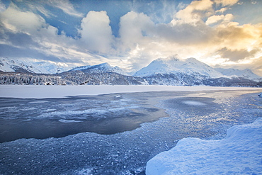 The shore of the frozen Lake Sils, Upper Engadine, Canton of Grisons (Graubunden), Switzerland, Europe