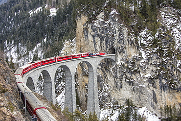 Bernina Express passes over Landwasser Viaduct, UNESCO World Heritage Site, and snowy woods, Filisur, Canton of Grisons (Graubunden), Switzerland, Europe