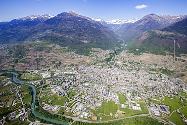 Aerial view of Sondrio and Bernina Group, Lower Valtellina, Lombardy, Italy, Europe