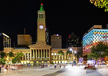 Brisbane Town Council building illuminated at night, long exposure, Brisbane, Queensland, Australia, Pacific