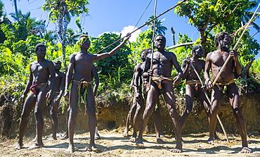 Men dancing in preparation for the Pentecost land diving, Pentecost, Vanuatu, Pacific