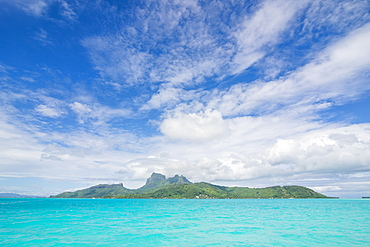 The turquoise lagoon of Bora Bora, Society Islands, French Polynesia, Pacific