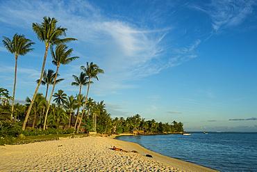 Matira Point beach at sunset, Bora Bora, Society Islands, French Polynesia, Pacific