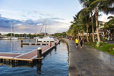 Waterfront of Papeete at sunset, Tahiti, Society Islands, French Polynesia, Pacific